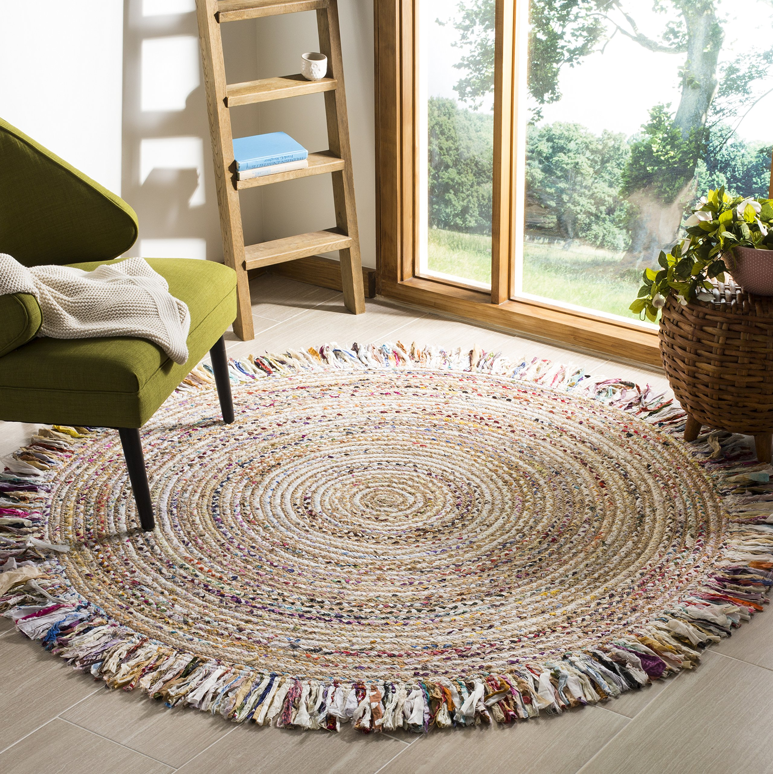 Safavieh CAP206B-4R Cape Cod Collection Ivory and Light Beige Cotton Round Area Rug, 4' Diameter