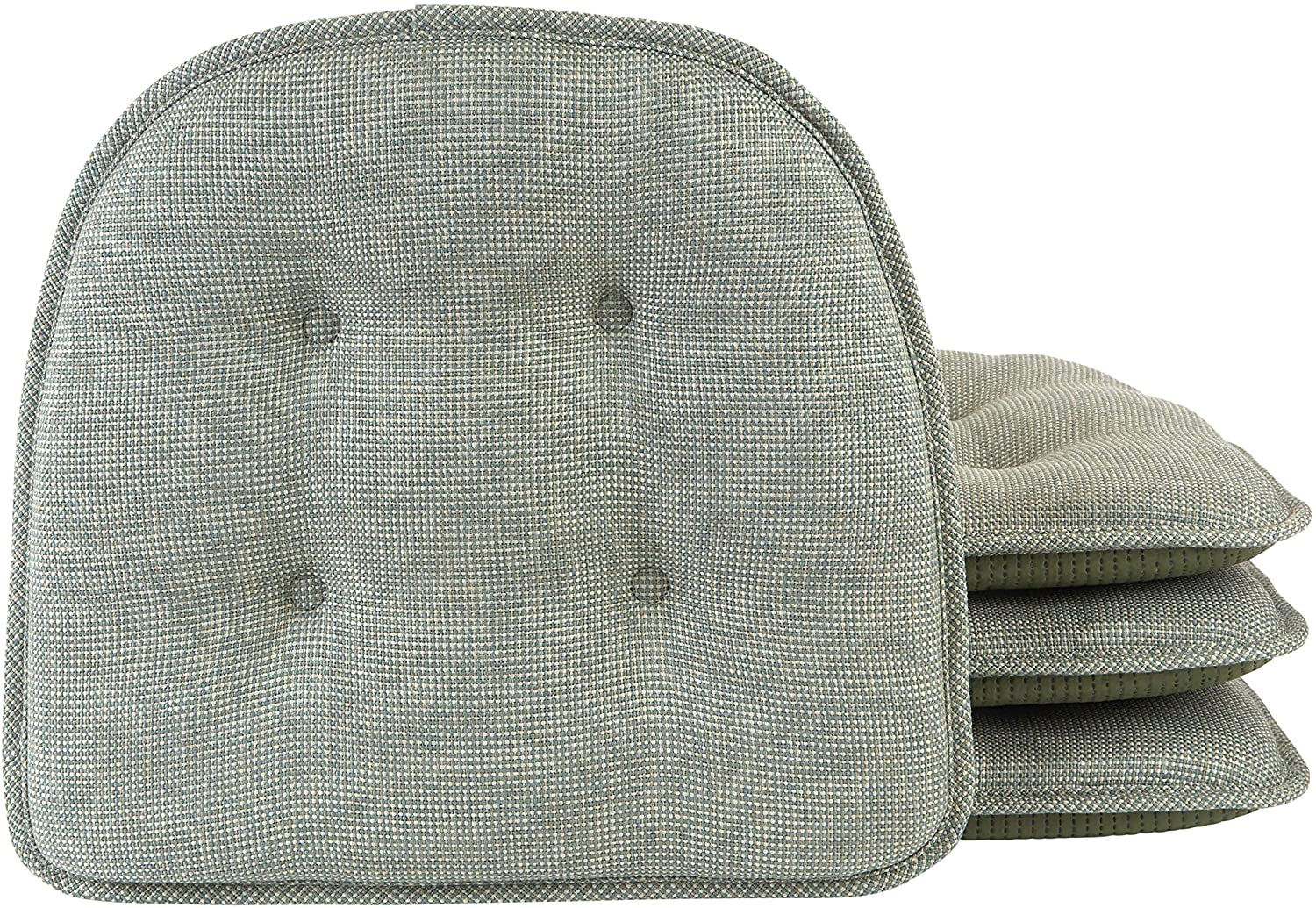 Klear Vu Omega Gripper Tufted Furniture Safe Non-Slip Dining Chair Cushion, 4 Pack, Spa 4 Pack