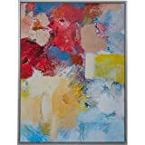 """Amazon Brand – Stone & Beam Abstract Red and Blue Print on Canvas Wall Art, Silver Frame, 17.75"""" x 21.75"""""""
