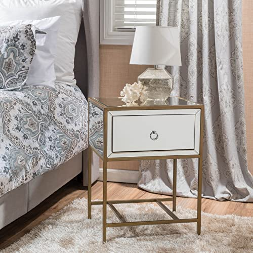 Christopher Knight Home Inka Mirrored One-Drawer Side Table