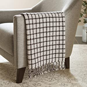 "Stone & Beam Casual Grid Throw Blanket, 60"" x 50"", Black, Ivory"