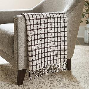"Stone & Beam Casual Grid Throw Blanket, 60"" x 50"", Black, Ivory"