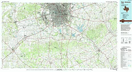 San Antonio TX topo map, 1:100000 scale, 30 X 60 Minute,