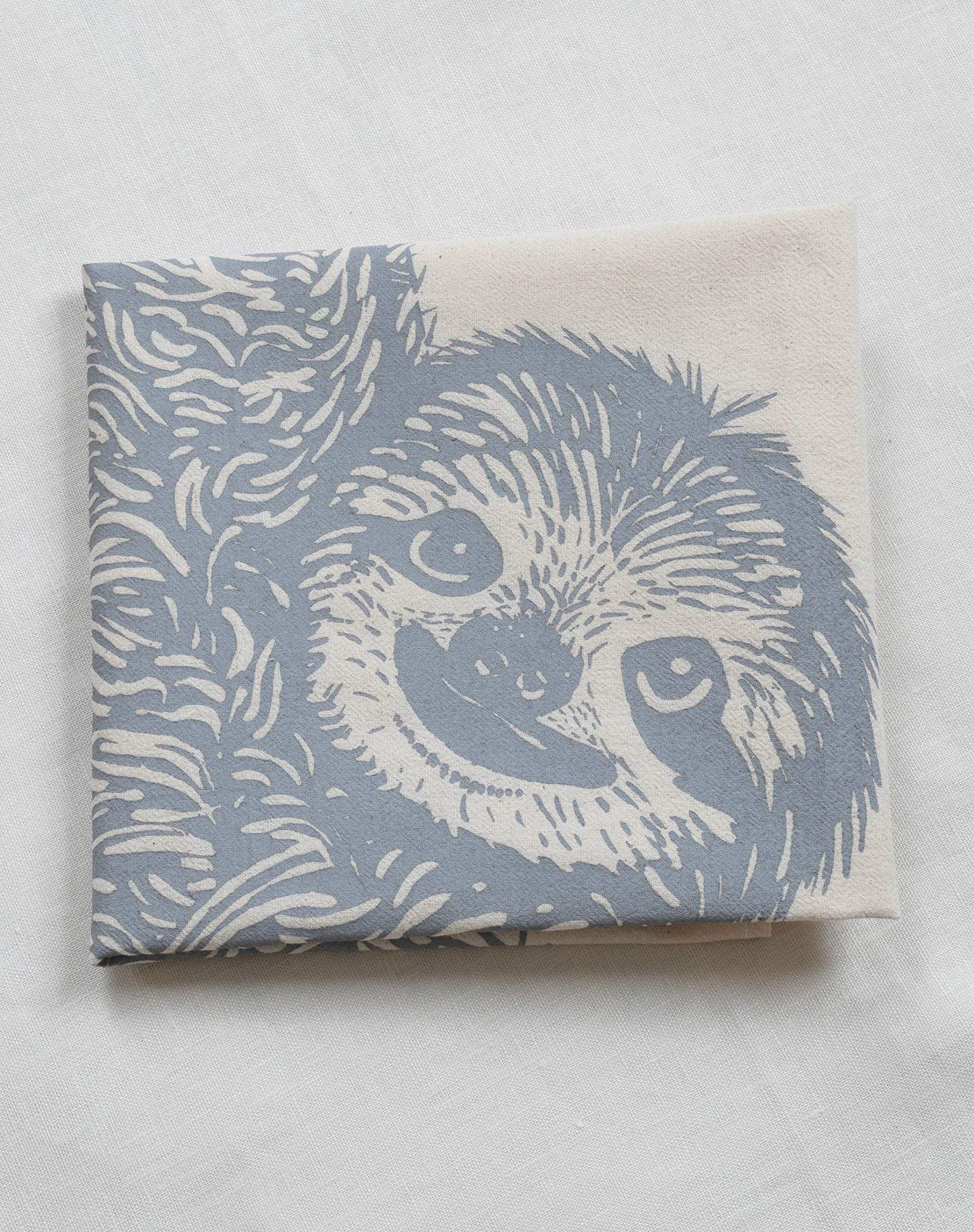 Tea Towel - Sloth Design in Grey - Organic Flour Sack Cotton