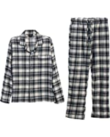 Gioberti 2 Piece Mens Flannel Pajamas, Button Up Shirt and Elastic Waist Pants Set