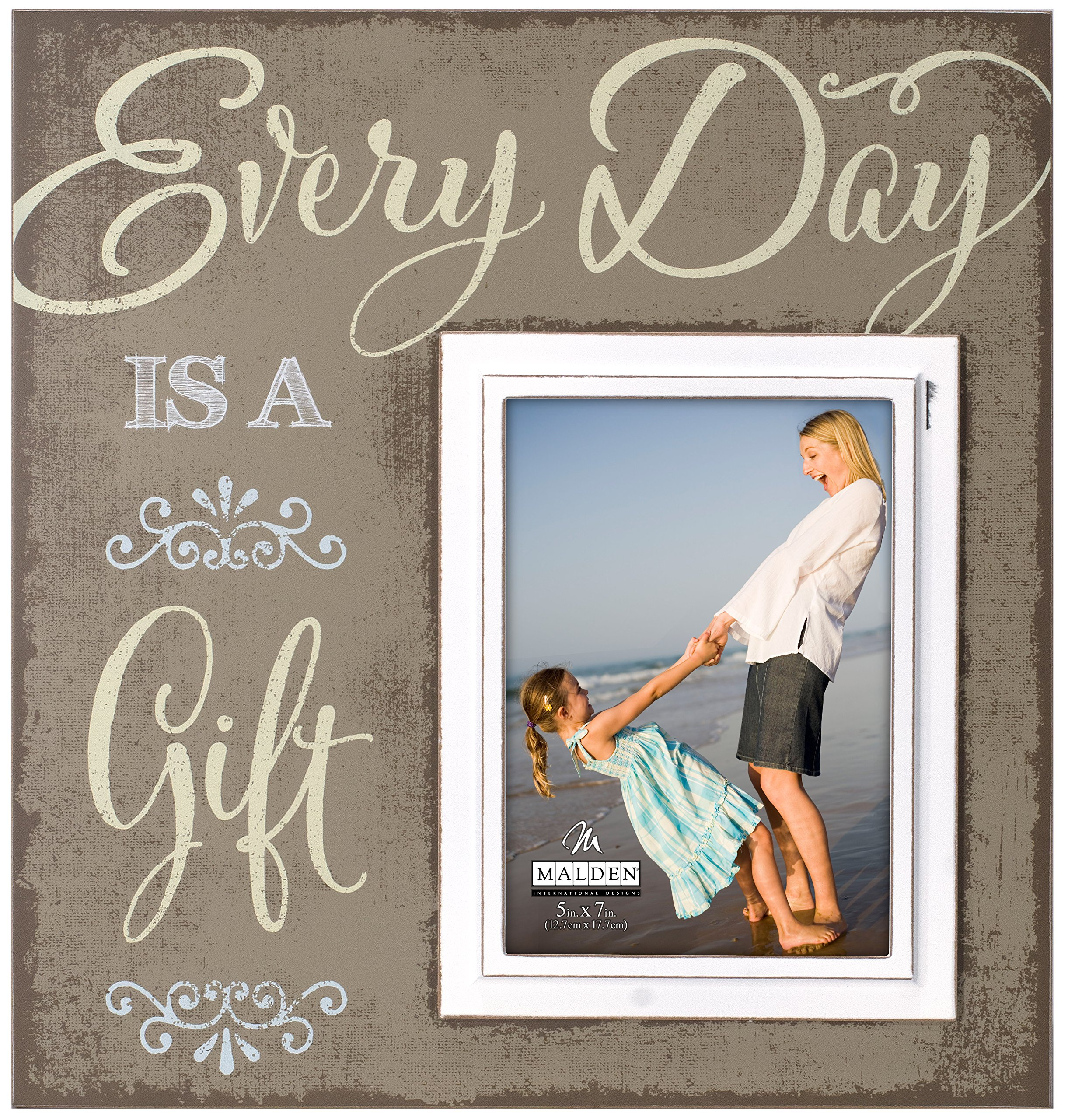 Malden International Designs Sentiments Every Day is A Gift Wood Picture Frame, 5x7/12x13, Brown