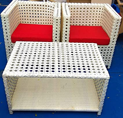 SK Furniture wicker table chair for Outdoor/Balcony/Garden/Indoor Use (Off-White) - Set of 3