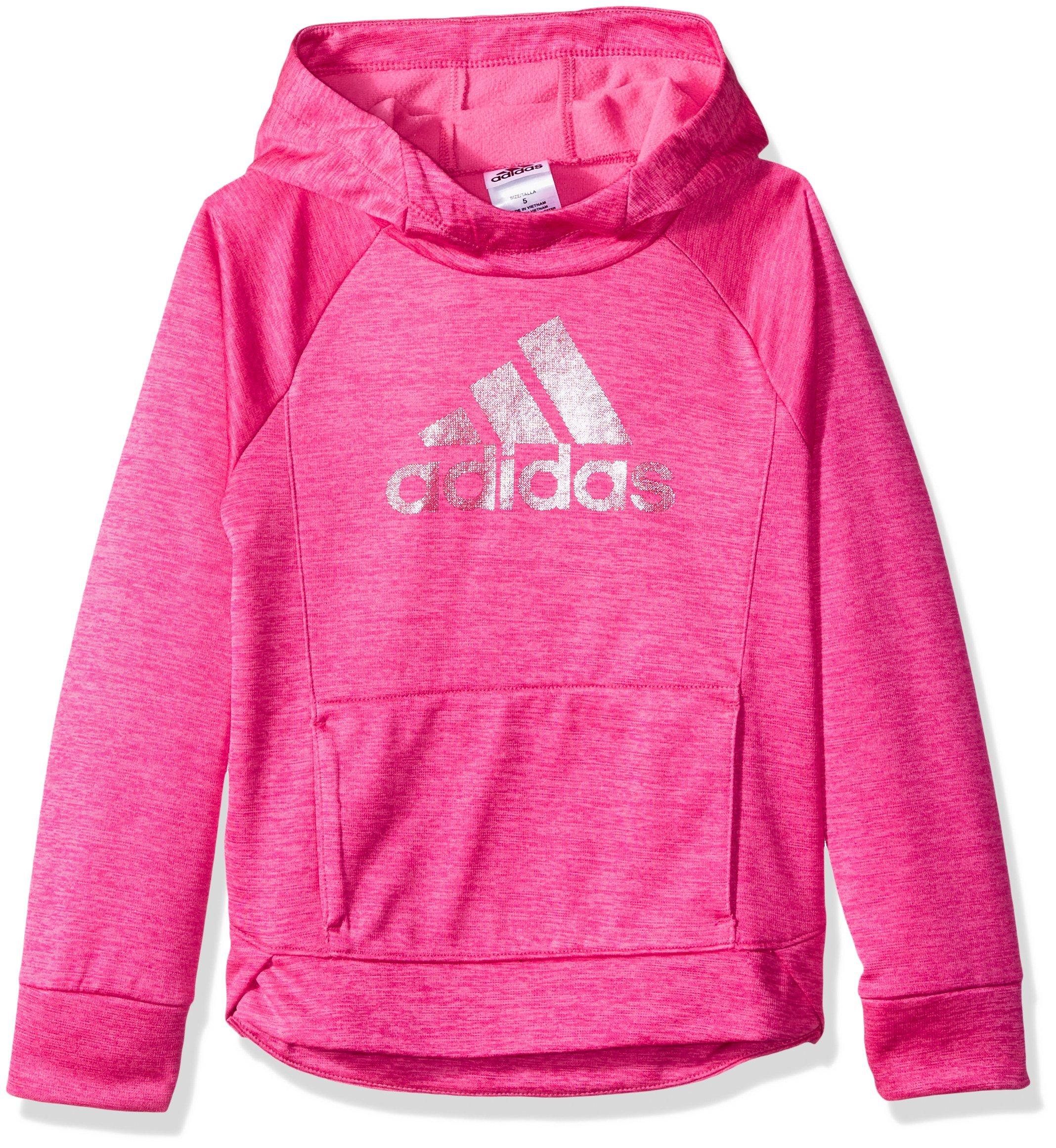 adidas Girls' Big Pullover Sweatshirt, Real Magenta Heather, M (10/12)