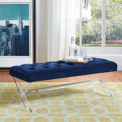 e864400149fbb Image Unavailable. Image not available for. Color  Tov Furniture Claira  Collection Ultra Modern Velvet Upholstered Entryway Bench with ...