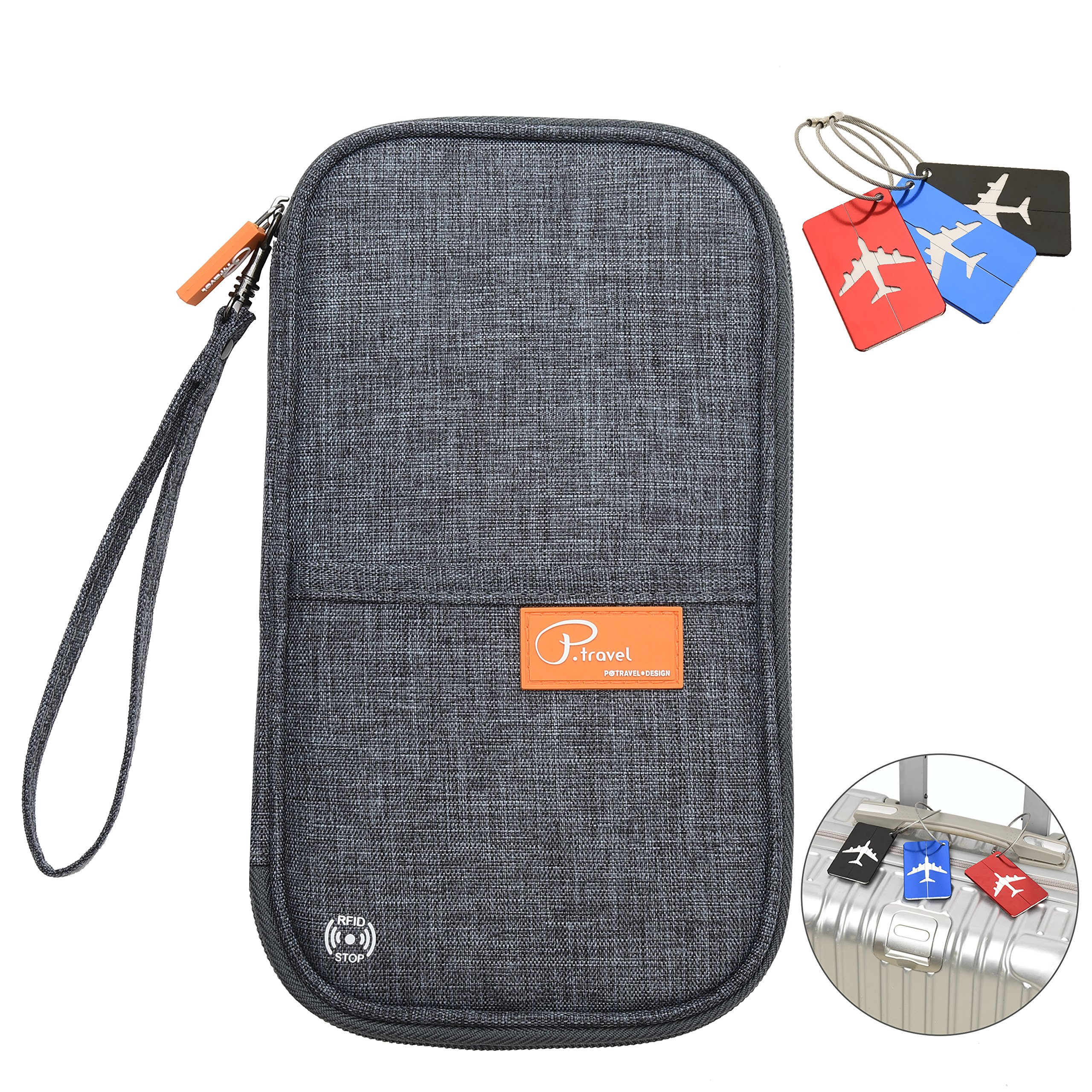 RFID Blocking Travel Passport Wallet Family Passport Holder Credit Card Ticket Document Organizer Bag with 3pcs luggage Tags (Grey)