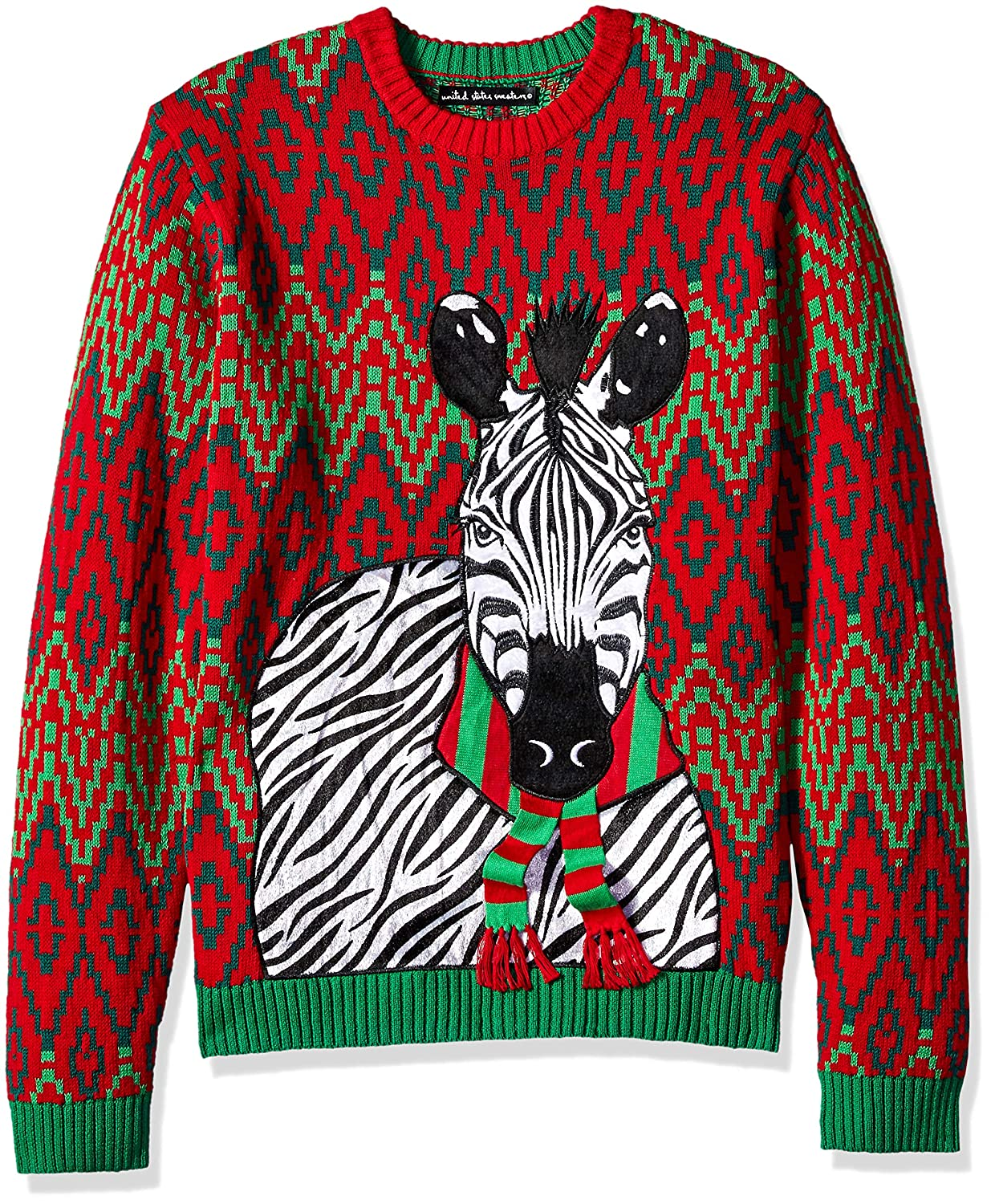 b034b5ad6 Blizzard Bay Mens Zebra Scarf Ugly Christmas Sweater Sweater  Amazon.ca   Clothing   Accessories