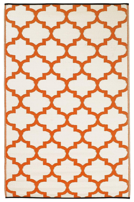 Amazon.com : Fab Habitat Tangier Recycled Plastic Rug, Carrot U0026 White, (4u0027  X 6u0027) : Yellow Rug : Garden U0026 Outdoor