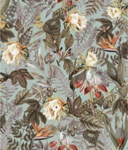 RoomMates Tropical Flowers Green Peel and Stick Wallpaper | Removable Wallpaper | Self Adhesive Wallpaper