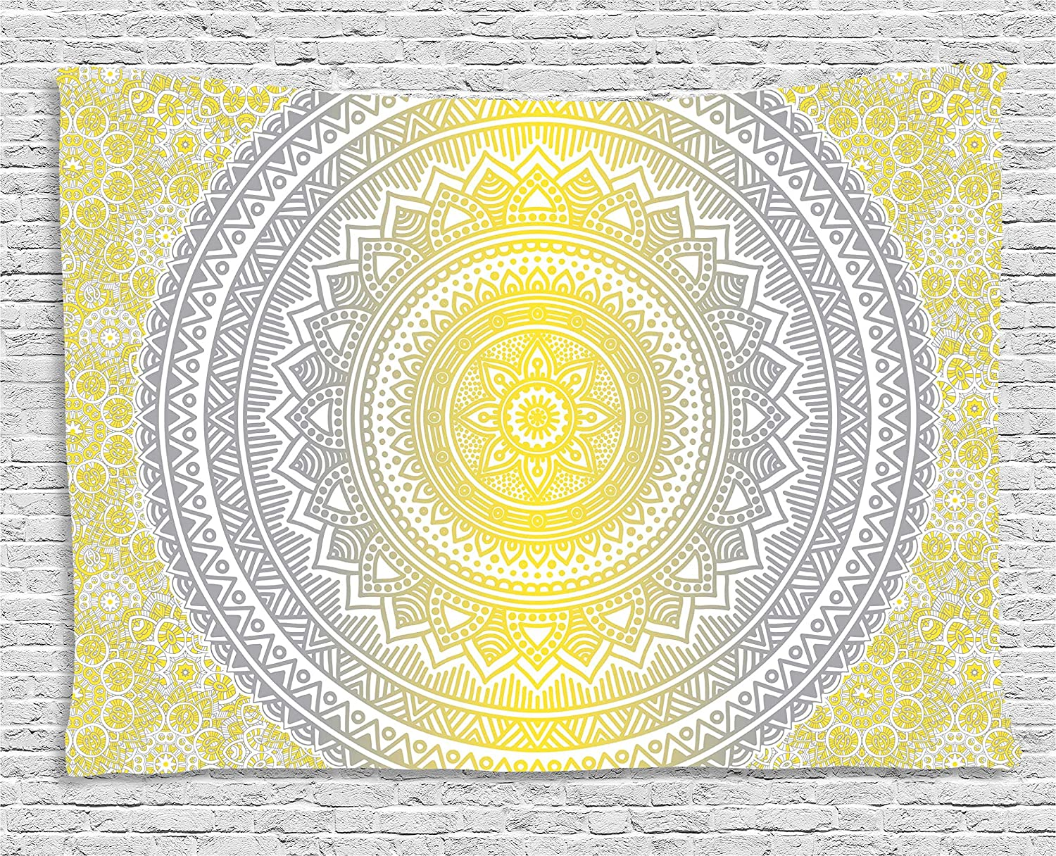 Amazon.com: Ambesonne Grey and Yellow Tapestry, Soft Pastel Color ...