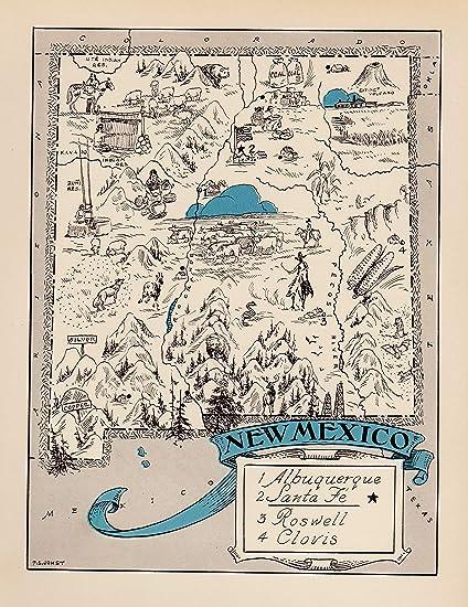 Amazon Com Plaindealing Vintage New Mexico State Map 1930s Blue