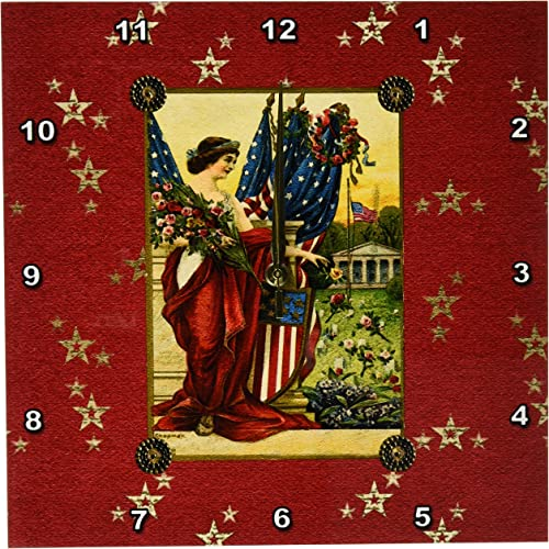 3dRose DPP_192588_2 Vintage Post Card Look, Lady with American Flags with Gold Stars Wall Clock, 13 by 13