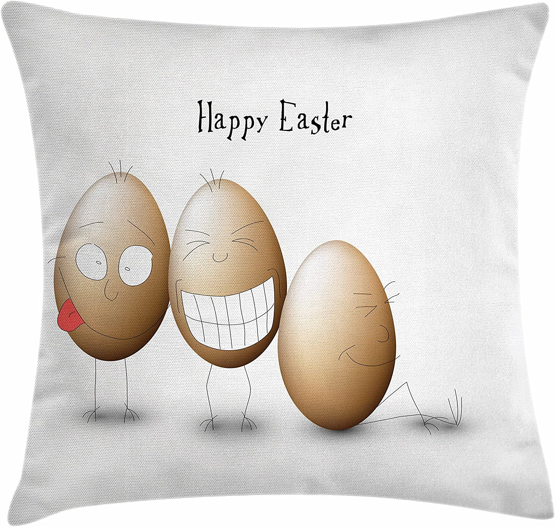 Ambesonne - Funda de cojín de Pascua, diseño de huevos con dibujos ...
