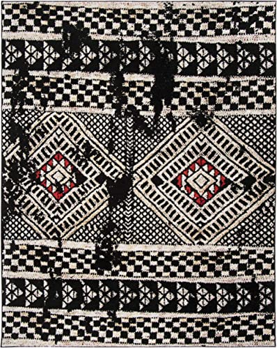 Safavieh Adirondack Collection ADR202Z Moroccan Boho Distressed Area Rug, 9 x 12 , Black Light Grey