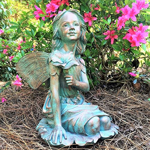 Suffolk Fairy Gabriela Bronze Patina Garden Flower Nature Statue Figurine