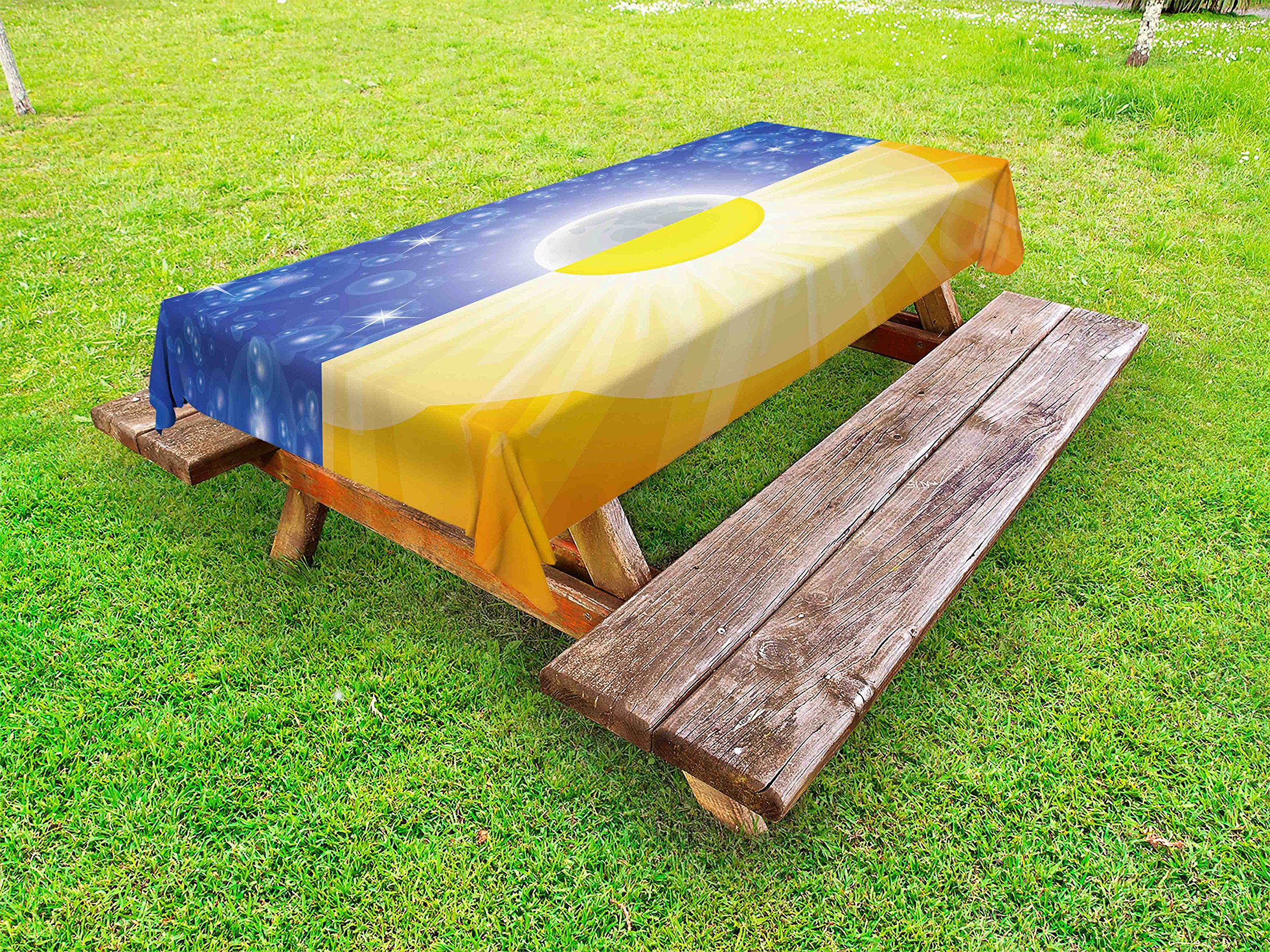 Ambesonne Space Outdoor Tablecloth, Split Design with Stars in The Sky and Sun Beams Solar Balance Nature Image Print, Decorative Washable Picnic Table Cloth, 58 X 104 inches, Blue Yellow