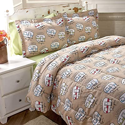The Lakeside Collection Happy Camper Comforter Set - Cute Bedding for Outdoor Lovers, Kids - Full/Queen: Home & Kitchen