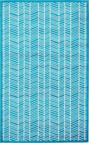 Unique Loom Metro Collection Modern Feathered Abstract Lines Turquoise Area Rug 5 0 x 8 0