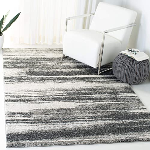 Safavieh Retro Collection Modern Abstract Dark Grey and Light Grey Area Rug 6 x 9