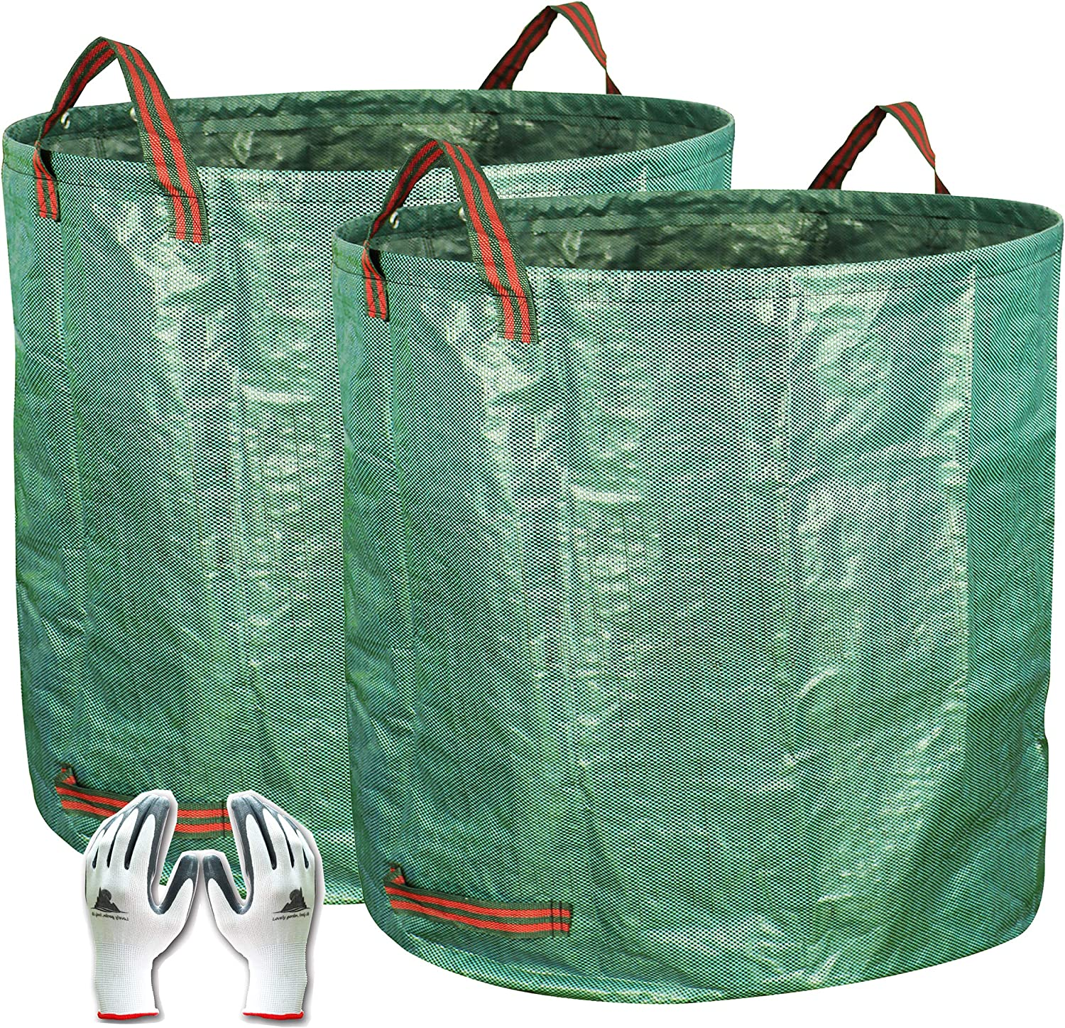 Gardzen 2-Pack 132 Gallons Gardening Bag with Double Bottom Layer - Extra Large Reuseable Heavy Duty Gardening Bags, Lawn Pool Garden Leaf Waste Bag, Comes with Gloves