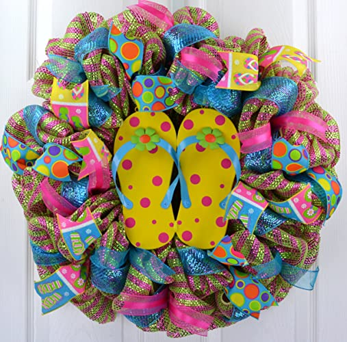 424a79a94 Image Unavailable. Image not available for. Color  Yellow Summer Spring  Flip Flop Welcome Deco Mesh Wreath