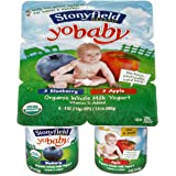 Yobaby Organic Blueberry and Apple Yogurt, 4 Ounce - 6 per pack -- 4 packs per case.