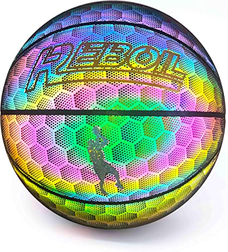 REBOIL Holographic Glowing Reflective Basketball Light Up Holographic Composite Leather Toys for Kids Boys and Girls Multi Rainbow Color Glow Official Size