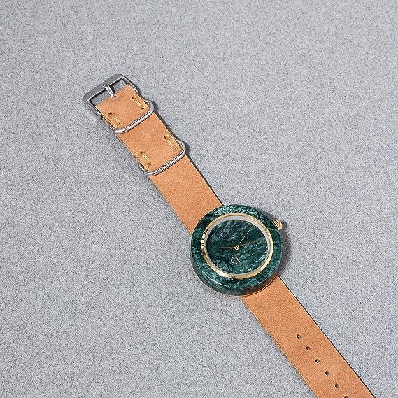 seQoya - Anaconda | Reloj de Piedra Hecho con mármol con Esfera de mármol y Correa de Piel ecológica | Reloj Hombre y Mujer | Diseño único y Original: ...