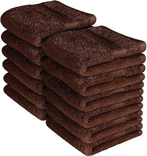 Utopia Towels Premium 700 GSM Washcloths Towel Set 12 Pack Dark Brown 12 x 12 Inches
