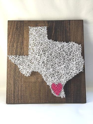 Amazon Texas Heart String Art 12 X 12 Nail And White