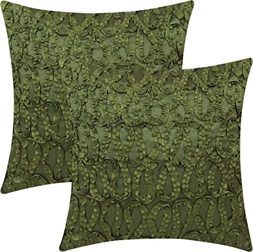 The White Petals Moss Green Decorative Pillow Covers Ribbon Work, 18×18 inch, Pack of 2