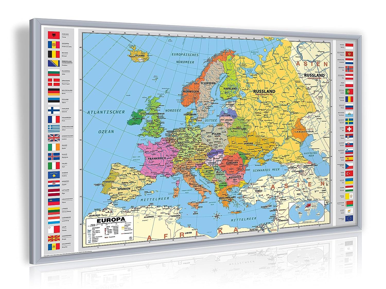 Amazon.de: geosmile Pinnwand Europa politisch 90x60 cm mit Echt-Holz ...