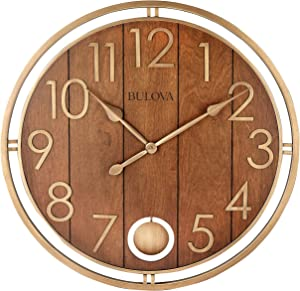 "Bulova Panel Time Oversize Wall Clock, 30"", Warm Cherry and Soft Bronze"