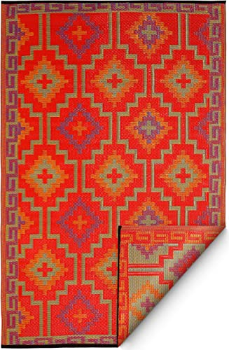 Fab Habitat Reversible Rugs Indoor or Outdoor Use Stain Resistant, Easy to Clean Weather Resistant Floor Mats Lhasa – Orange Violet 9 x 12