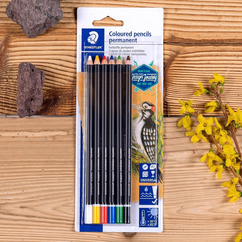 Crayons permanents pour tout type de surfaces Couleurs intenses pigment/ées Staedtler Lumocolor Glasochrom R/ésistants /à leau et /à la lumi/ère 10820BK6-C /Étui blister avec 6 couleurs diff/érentes