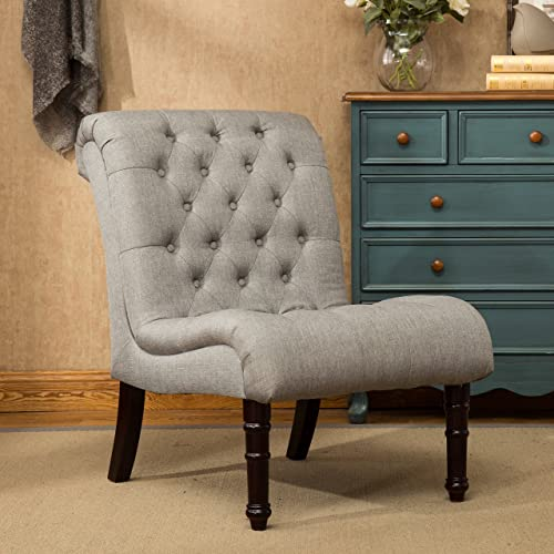 Roundhill Furniture Rouen Rolled Back Button Tufting Grey Armless Slipper Chair