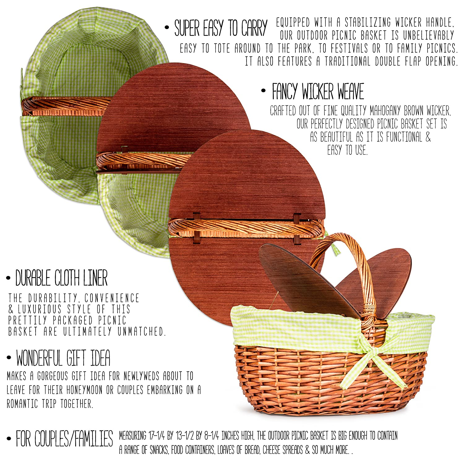 Amazon wicker picnic basket includes greenwhite checkered amazon wicker picnic basket includes greenwhite checkered liner large picnic basket with lid thoughtful and romantic for wedding in packaging sciox Choice Image