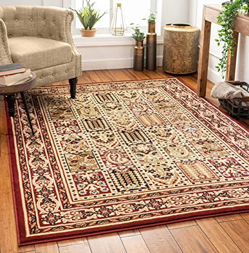Sultan Panel Multi Color Red Oriental Area Rug Persian Formal Traditional Area Rug 8 x 11 Easy Clean Stain Fade Resistant Shed Free Modern Classic Contemporary Thick Soft Plush Living Dining Room
