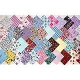 4 pouces/10 cm de tissu carrés Patchwork, Quilting Craft-Lot 50 pièces-gratuit 1 m ruban gros grain Par CR8 Comercio