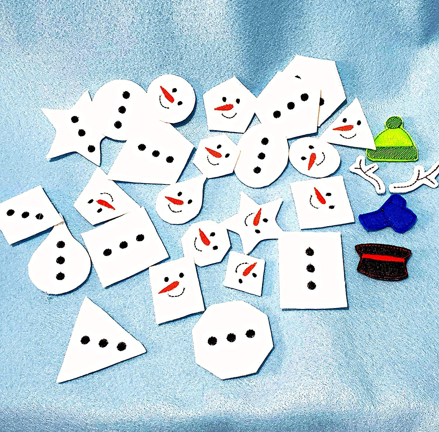 #3939 Snowman matching shapes game for shape identification