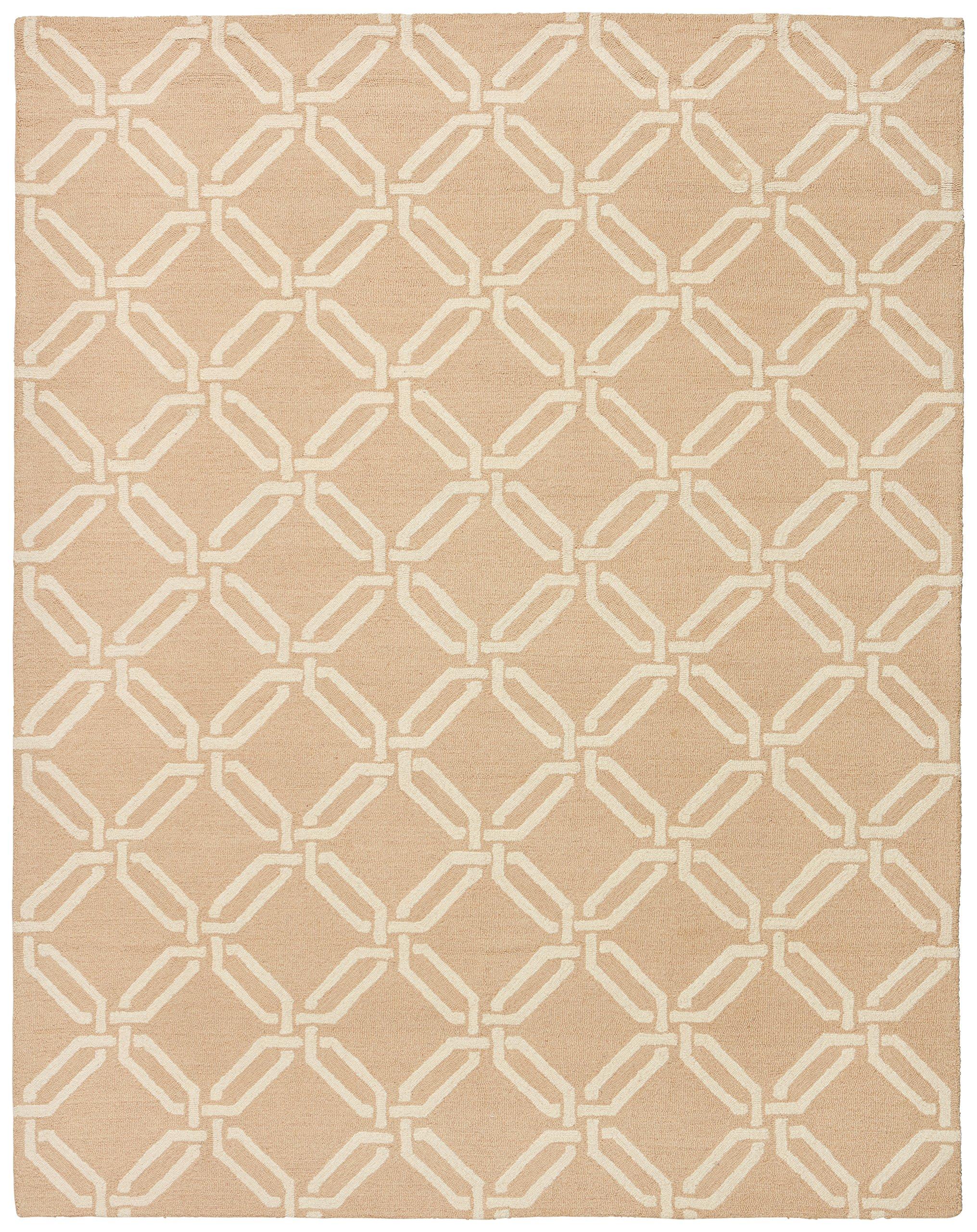 Stone & Beam Contemporary Interlocking Rings Wool Rug, 7'6'' x 9'6'', Beige by Stone & Beam