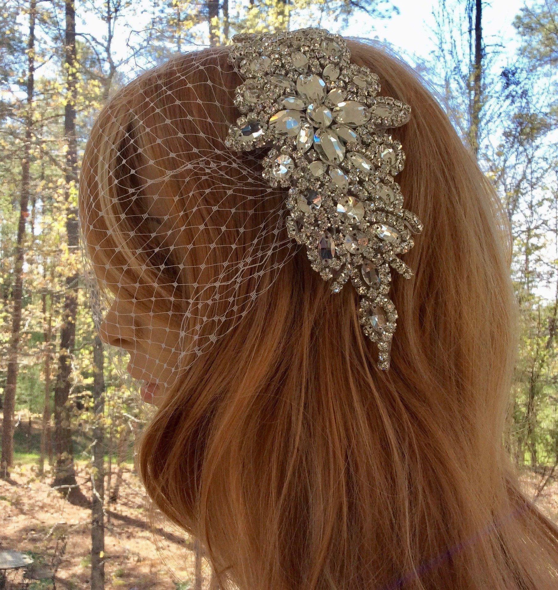 Bridal Veil With Rhinestone Comb, Wedding Veil and Headpiece, White or Ivory Veil