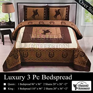 Western Collection New 3 Pieces Western Stars and Horses Cowboy Luxury Home Quilt Bedspread Oversize Comforter (King Brown Horse)