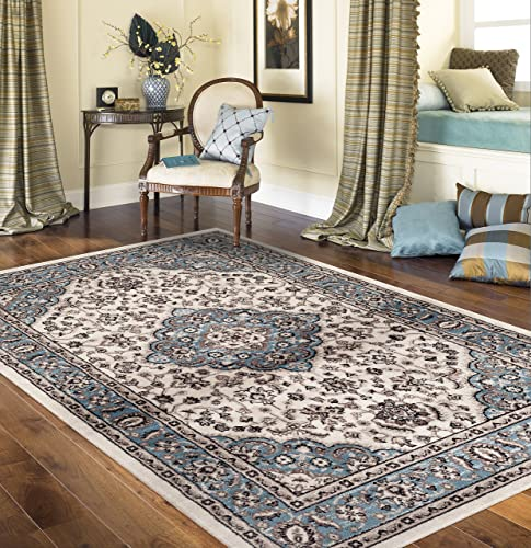 Traditional Oriental Medallion Design Blue 5'3″ x 7'3″ Indoor Area Rug