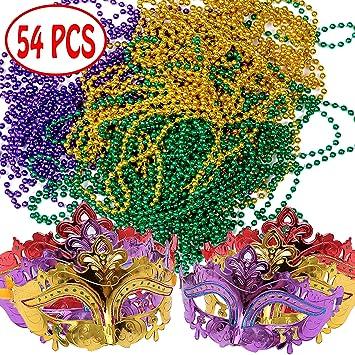 Happy Storm - Juego de máscara de Mardi Gras y cuentas para collar de Mardi Gras (54 unidades): Amazon.es: Juguetes y juegos