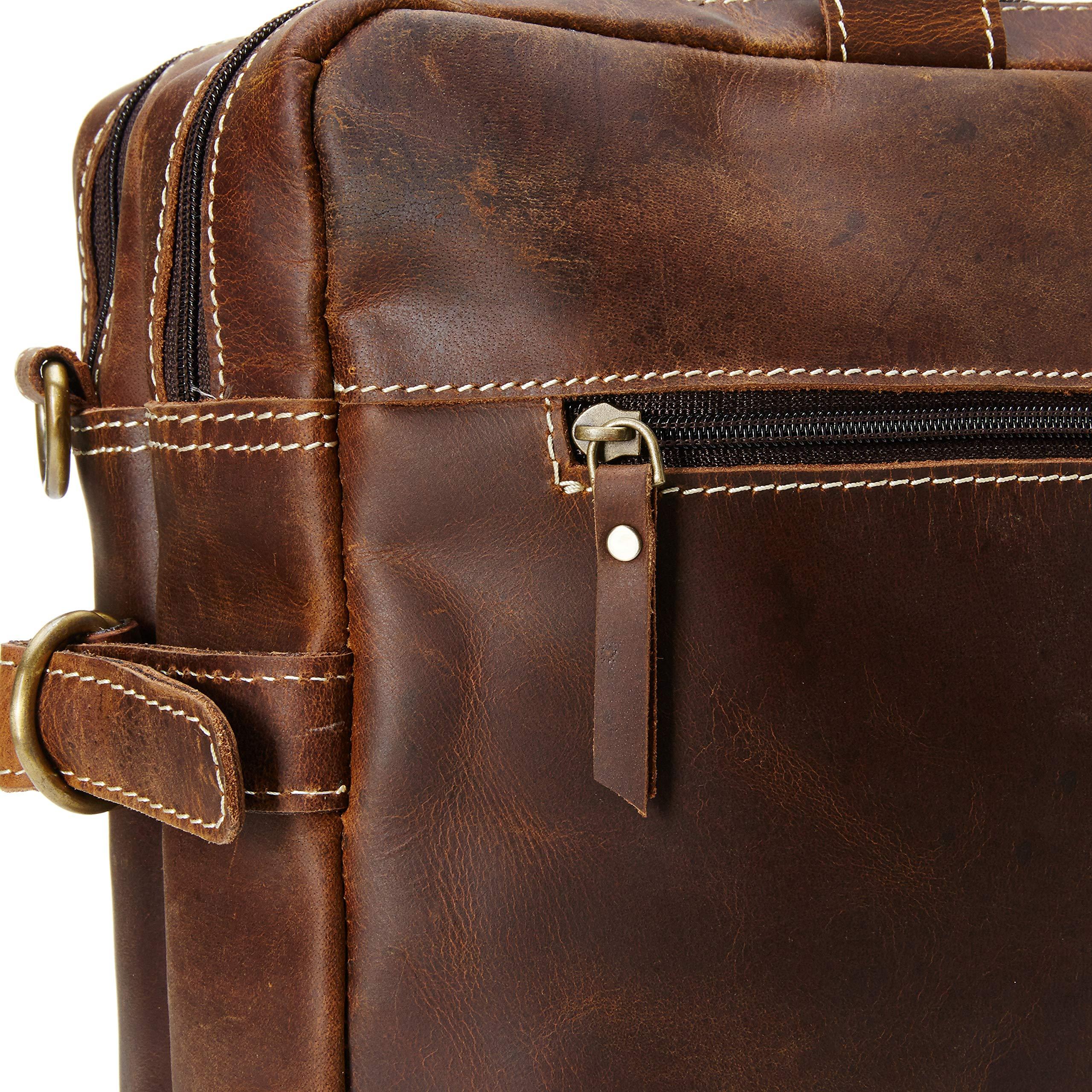 16 inch Vintage Buffalo Leather Messenger Satchel Laptop Briefcase Men's Bag Crazy Vintage Leather Messenger (Brown) by Ruzioon (Image #4)